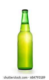 Green glowing beer bottle. Isolated on white, clipping path included