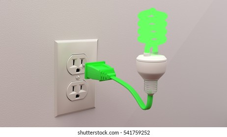 Green glowing energy saving light bulb connected to a plug in front of an outlet 3D illustration