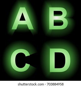 Green glowing letters 3D Illustration A,B,C,D