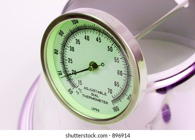 green glowing thermometer