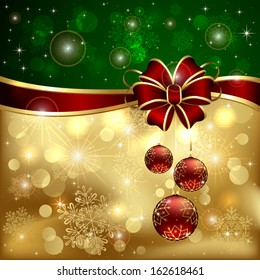 Green - gold Christmas background with red bow, three baubles and shining stars, illustration.