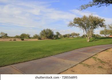 Green Golf Course Fairway - Blue Sky