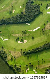 Green golf course (Top view), Aerial view putting green and beautiful turf golf course, Aerial photography or shot of a green golf course.