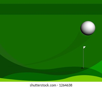 Green golf design with a tracing shadow from a golf  ball