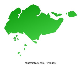 Green gradient Singapore map. Detailed, Mercator projection.