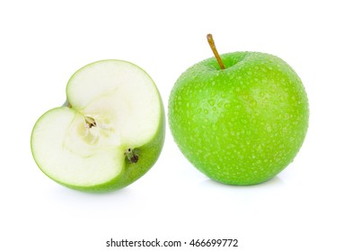Green granny smith apple with a Drop of water on white background.