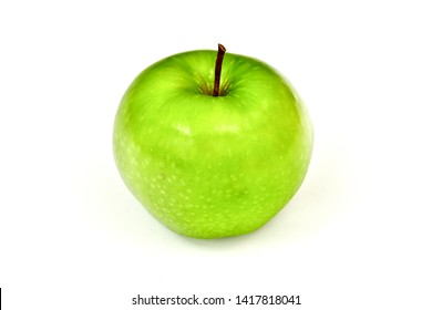 Green Granny Smith apple isolated on white background.