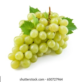 Green grape. Grapes with leaves isolated on white. With clipping path. Full depth of field.