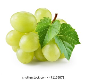 Green grape with leaf isolated. Grapes on white. With clipping path.