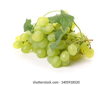 Green grape. Grape with leaves isolated on white