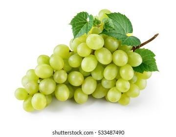 Green grape with leaves isolated on white. With clipping path. Full depth of field.