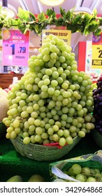 Green grape Photo taken at shopping complex on 21st.November 2015 at putrajaya, federal territory, malaysia during the fruits sales promotion