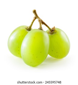 Green grape. Three berries isolated on white background