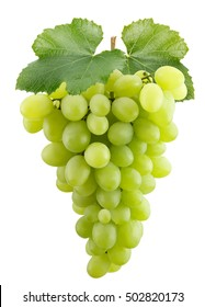 green grapes isolated on the white background