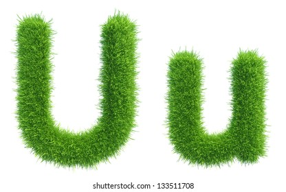 green grass alphabet isolated on white background