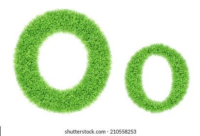 green grass alphabet isolated on white background, green moss alphabet, O