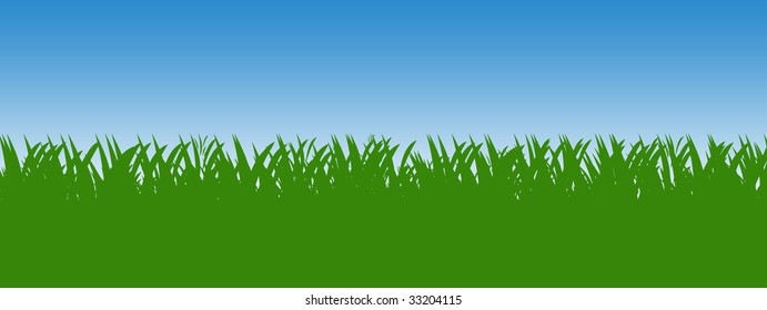 Green grass background with blue sky isolated over white.