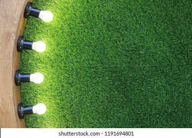 green grass background with bulbs lighting with copy space