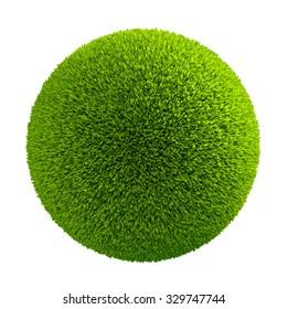 Green grass ball, 3D rander art and illustration.
