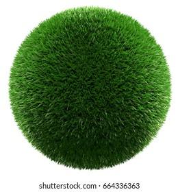 Green grass ball isolated 3d render