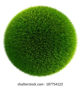 green grass ball isolated on white background. clipping path included