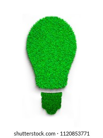 Green grass bulb, isolated on white background, concept of ECO and renewable energy, 3D illustration.