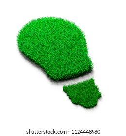 Green grass bulb, isolated on white, concept of ECO and renewable energy, 3D illustration.