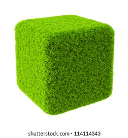 Green grass cube. Isolated on white.