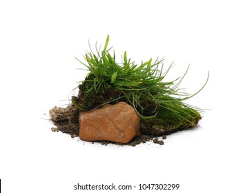 Green grass with dirt, soil and rock isolated on white background and texture