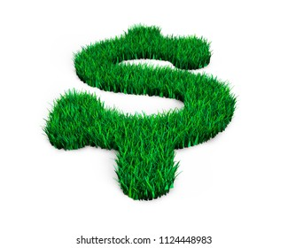 Green grass in dollar sign shape, isolated on white, ECO and circular economy concept, 3D illustration.