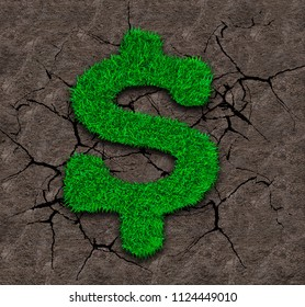 Green grass in dollar sign shape on dry soil with cracks background, ECO and circular economy concept.