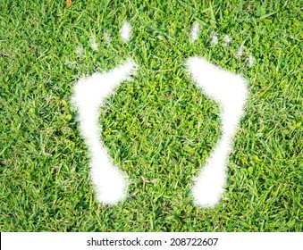 Green grass ecological footprint concept on over white background