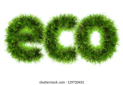 Green grass ecology eco text isolated on white background
