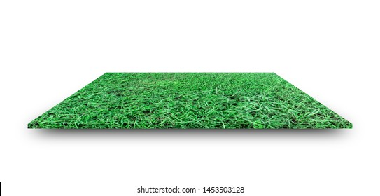 Green grass field isolated on white background. with clipping path. For sport stadium background.