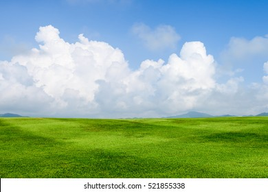 green grass field on blue sky with cloud background