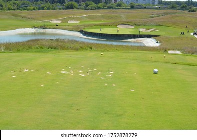 green grass in golf course.  sports outdoor in summer vacation