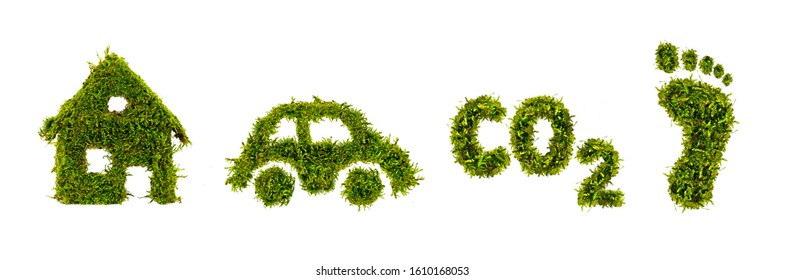 Green grass growing footprints, co2 symbol, house and car, save the world concept