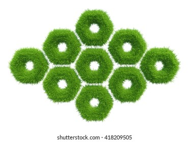 green grass hexagon. natural background texture.