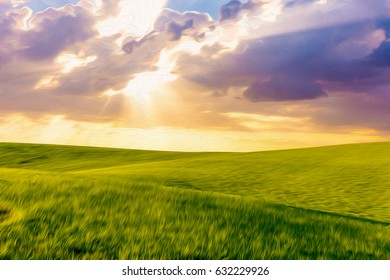 Green grass hills meadows landscape with cloudy sky and sun rays artistic abstract oil painting style illustration.