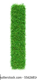 Green Grass Letter L. Isolated On White Background. Font For Your Design. 3D Illustration