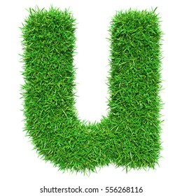 Green Grass Letter U. Isolated On White Background. Font For Your Design. 3D Illustration