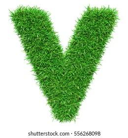 Green Grass Letter V. Isolated On White Background. Font For Your Design. 3D Illustration