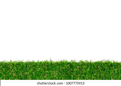 Green grass mat texture isolated on white background with white area for copy space. Green artificial turf tile.