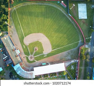 Green grass on baseball field aerial drone view