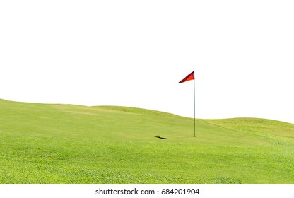 Green grass on a golf field isolated.