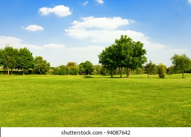 Green grass on a golf field - Shutterstock ID 94087642