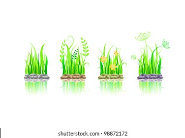 green grass on stone ground icon set. Vector illustration with reflection isolated on white