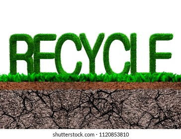 Green grass in RECYCLE word shape on cross section of grass and dry cracked soil texture, isolated on white background.