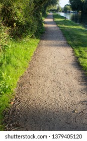 Green grass and shadows on towpath along the River Cam in Chsterton Cambridge on a sunny summer day.