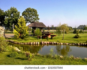 Green grass and a small pond